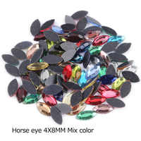 Horse eye Shape 144Pcs/lot 4X8MM Hotfix Rhinestone Mix Color for Cloths Adornment DIY phone accessories free shipping