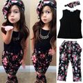 Drop shipping Girls Fashion floral casual suit children clothing set sleeveless outfit +headband 2017 summer new kids clothes se