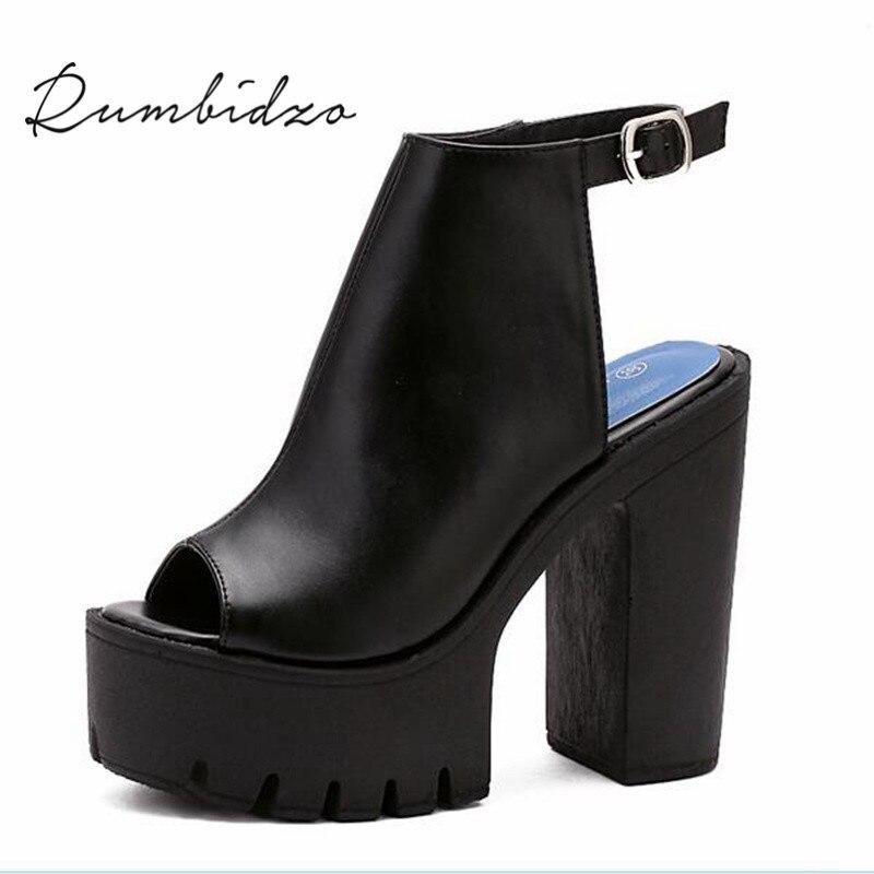 Rumbidzo Fashion European Women Summer Shoes Slingbacks High Heels Sandals Platform Thick Heel Sandalias Party Zapato Feminios hot women party sandals 2016 summer brand elegant high heels sandalias women s dress shoes sandal sjl342