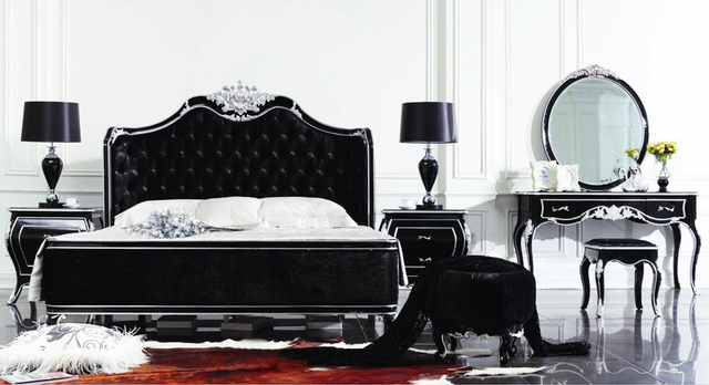 US $5209.0 |European Style Luxury Imperial Wood Carved Black and  SilverBedroom Set Button Tufted Headboard-in Bedroom Sets from Furniture on  ...