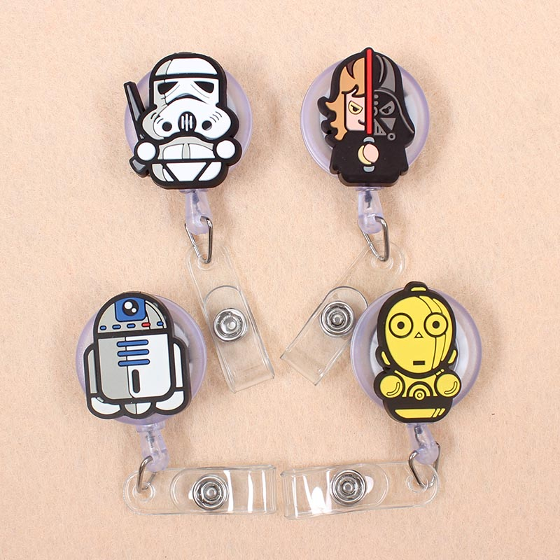 Cartoon 60cm Silicone Cute Star Wars Retractable Badge Reel Student Nurse Doctor Exhibition Enfermera Name Card ID Card Chest