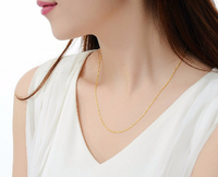 Fashion Luxury 17 inch Solid 999 24K Yellow Gold Necklace chain O chain 2.92g