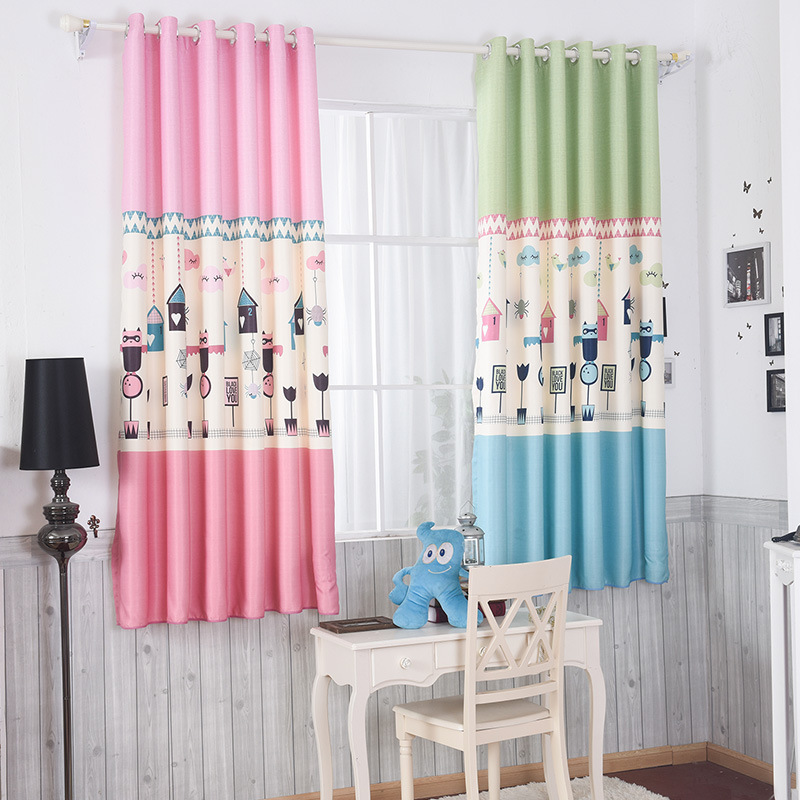 Boys And Girls Bedroom Curtains Cartoon Blue Pink Printing