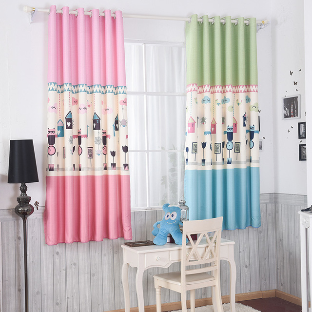 Boys and Girls Bedroom Curtains Cartoon Blue Pink Printing Roller ...