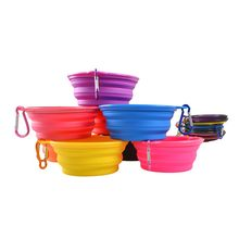 Collapsible Travel Bowls Pet Dog Cat Dish Water Candy Color Feeder Puppy Silicone Feeding Bowl(China)