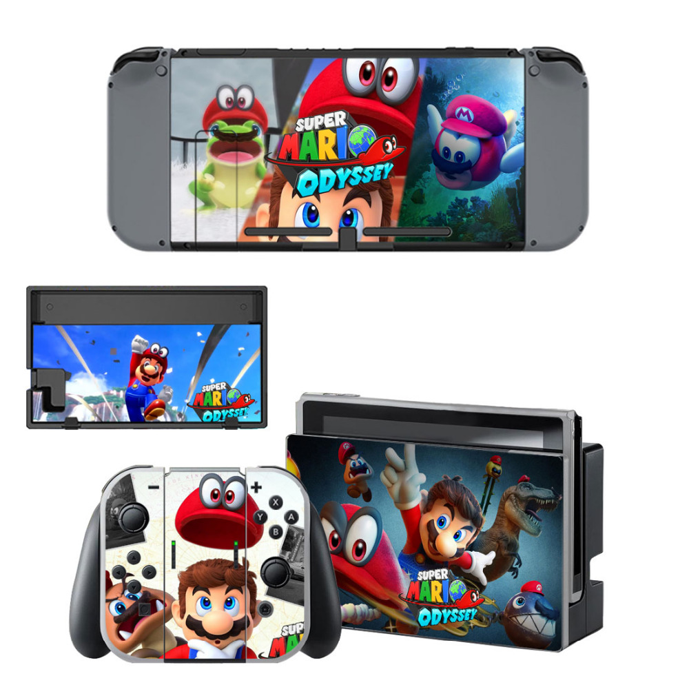 цена For Super Mario Odyssey Skin Sticker Decal For Nintendo Switch Console and Controller for NS Protector Cover Skin Sticker Vinyl