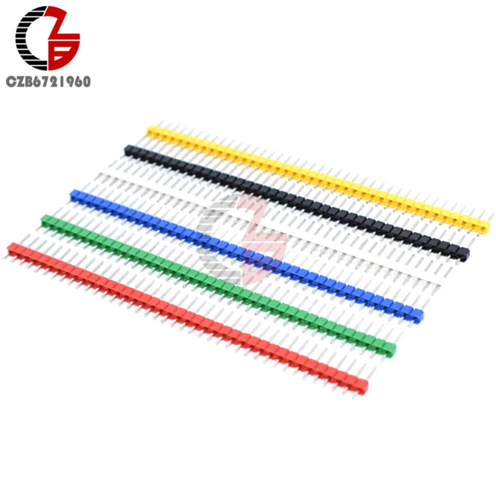 10Pcs Single Row Male Pin Header 40Pin 2.54mm Straight Pin Header Strip Connector for PCB Board DIY Soldering Welding
