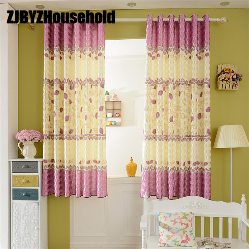 Modern Fresh Pastoral Purple Curtains For Girl Bedroom Leaves Short Curtain 2.1 High Children
