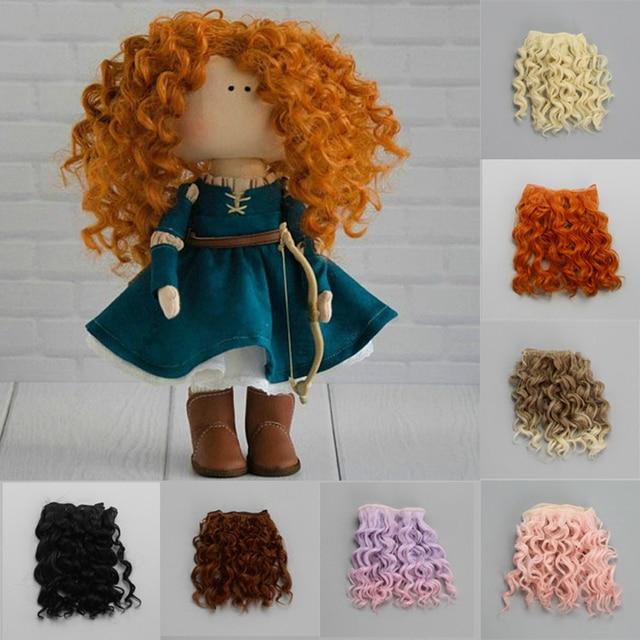 Extensão de cabelo encaracolado, 15*100cm de parafuso de alta qualidade para todas as bonecas, diy, resistente ao calor de fibra, cabelo wefts acessórios brinquedos