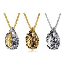 купить Personality Buddha Magic Necklace Men's Long Titanium Steel Pendant Male Retro Pendant Jewelry Accessories дешево