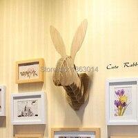 Милый кролик  дерево  голова животного  MDF  деревянный настенный Декор  самостроение  головоломка
