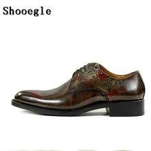 SHOOEGLE Для мужчин Винтаж Стиль бронза Кожаные туфли с принтом полноценно ручной оксфорды Для мужчин на шнуровке Туфли под платье с изысканным поле