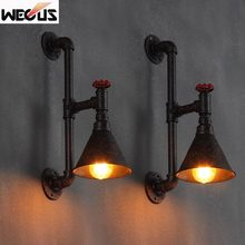 Loft Vintage restaurant bar wall lamp water pipe industry lighting american country wall light цена