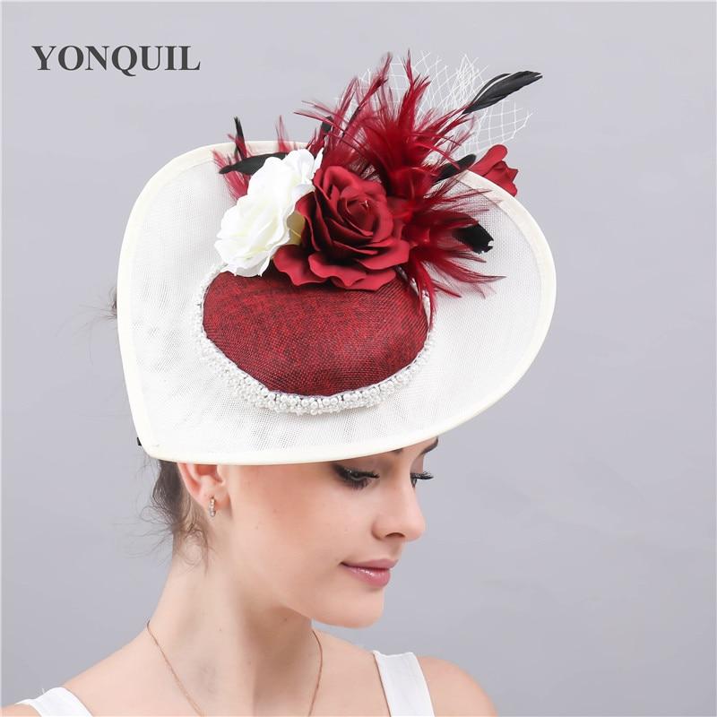 Vintage Derby Kenducky Chapeau Fascinators Women Hat Elegant Ladies Wedding Party Church Headpiece With Flower Headwear Fedora