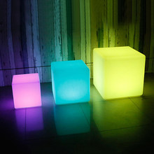 Thrisdar RGB Rechargeable Led illuminated Furniture Cube Stool Lamps With Remote Outdoor Led Cube Chair bar KTV Plastic Table(China)