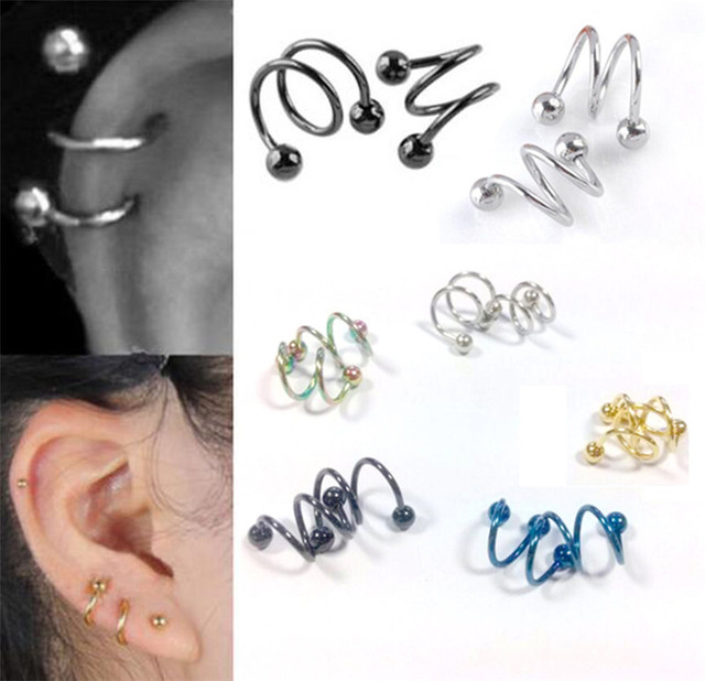 Punk Stainless Steel S Spiral Helix Ear Stud Lip Nose Ring Cartilage