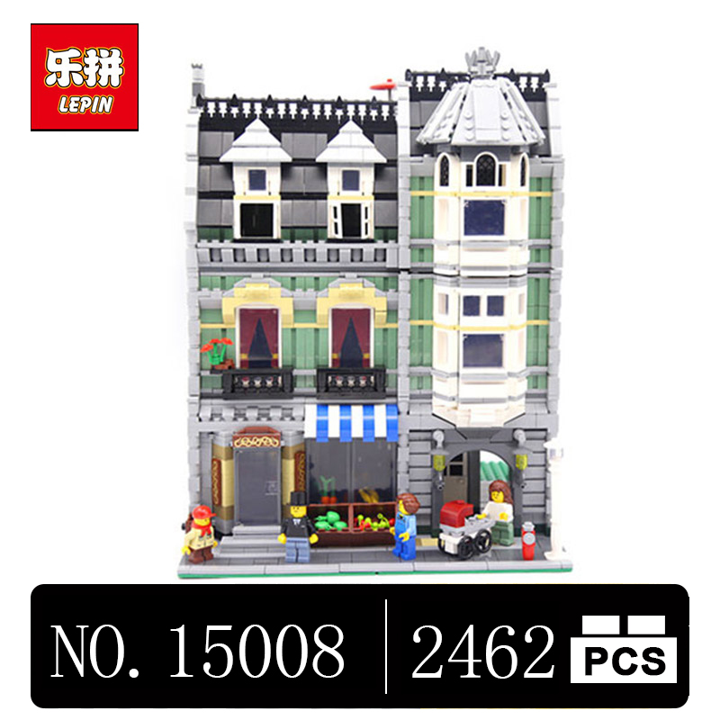 DHL Lepin 15008 2462Pcs City Street Green Grocer Model Building Kits Blocks Bricks Compatible Educational 10185 toys lepin 15008 new city street green grocer model building blocks bricks toy for child boy gift compatitive funny kit 10185 2462pcs