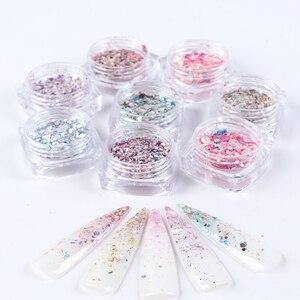 Image 2 - 1 takım holografik tırnak Glitter seti toz Nail Art Pigment DIY pul Nail Art süslemeleri toz jel manikür Pigment CH1506 08