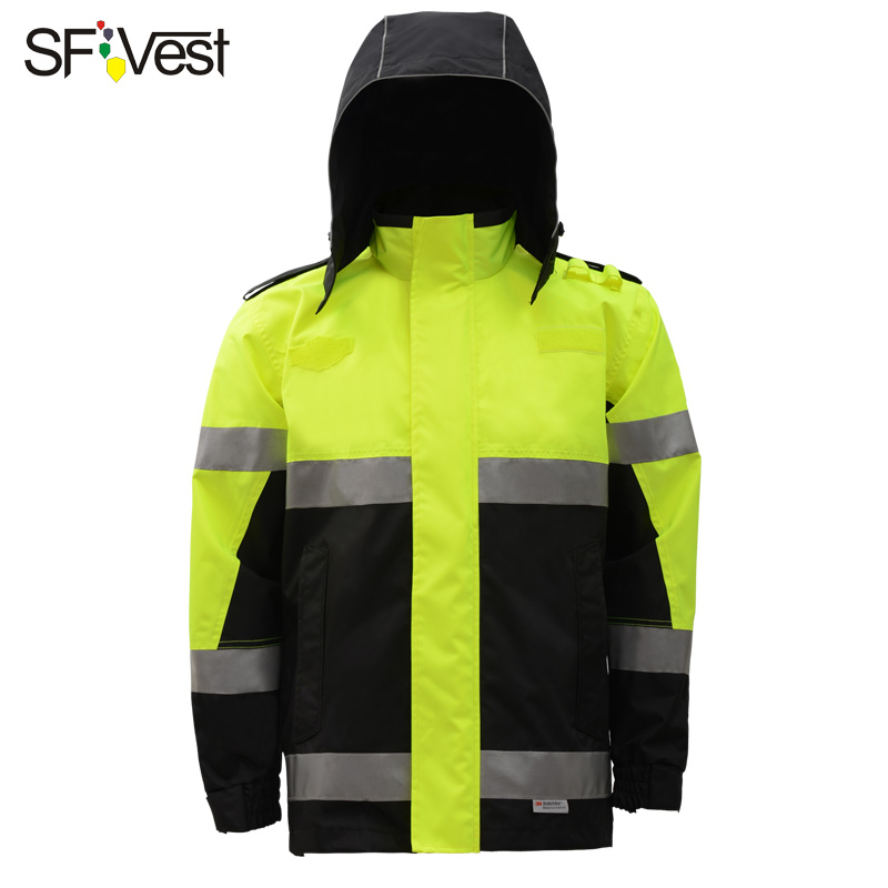 SFVest Two Tone Parka with hoo 3M tape Hi Viz Waterproof reflective traffic Work Jacket Mens Warm Security Coat free shipping button up two tone work shirt