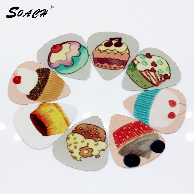 SOACH 10pcs/Lot 0.71mm Thickness Guitar Strap Guitar Parts  Multi-pattern Of Ice Cream Desserts Guitar Picks
