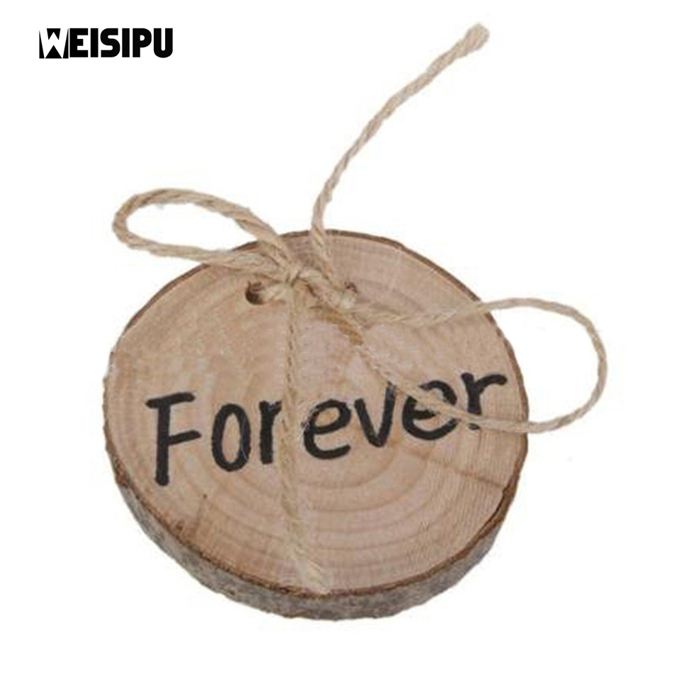 WEISIPU 1Pc Forever Rustic Wedding Ring Pillow Shabby Chic Married Wooden Ring Bearer Party Wedding Decoration