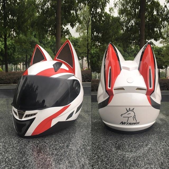 NITRINOS Motorcycle helmet men and women racing personality four seasons safety helmet cat ear helmet