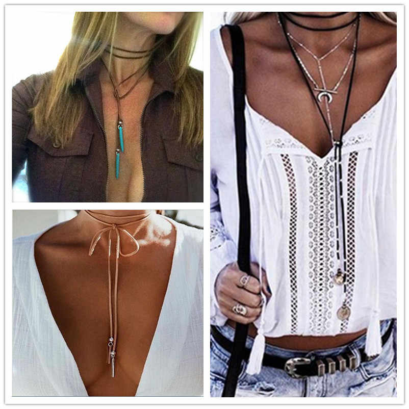 Choker Necklace For Women Crystal Pendant Long Leather Black Necklaces Boho Collier Femme Fashion Jewelry Choker Necklace x150