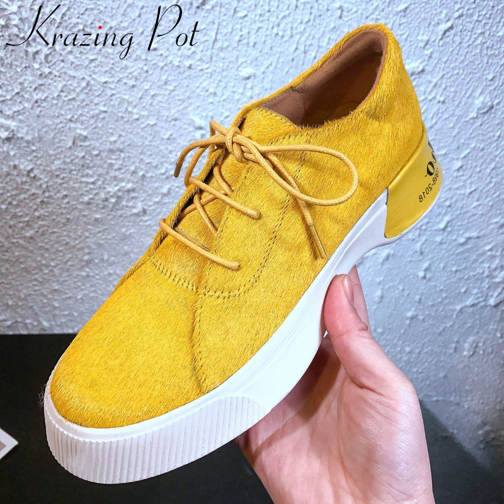 Krazing Pot Hot Selling New Horsehair Material Thick Bottom Concise Design Lace Up Sneakers Vintage Spring Vulcanized Shoes L16