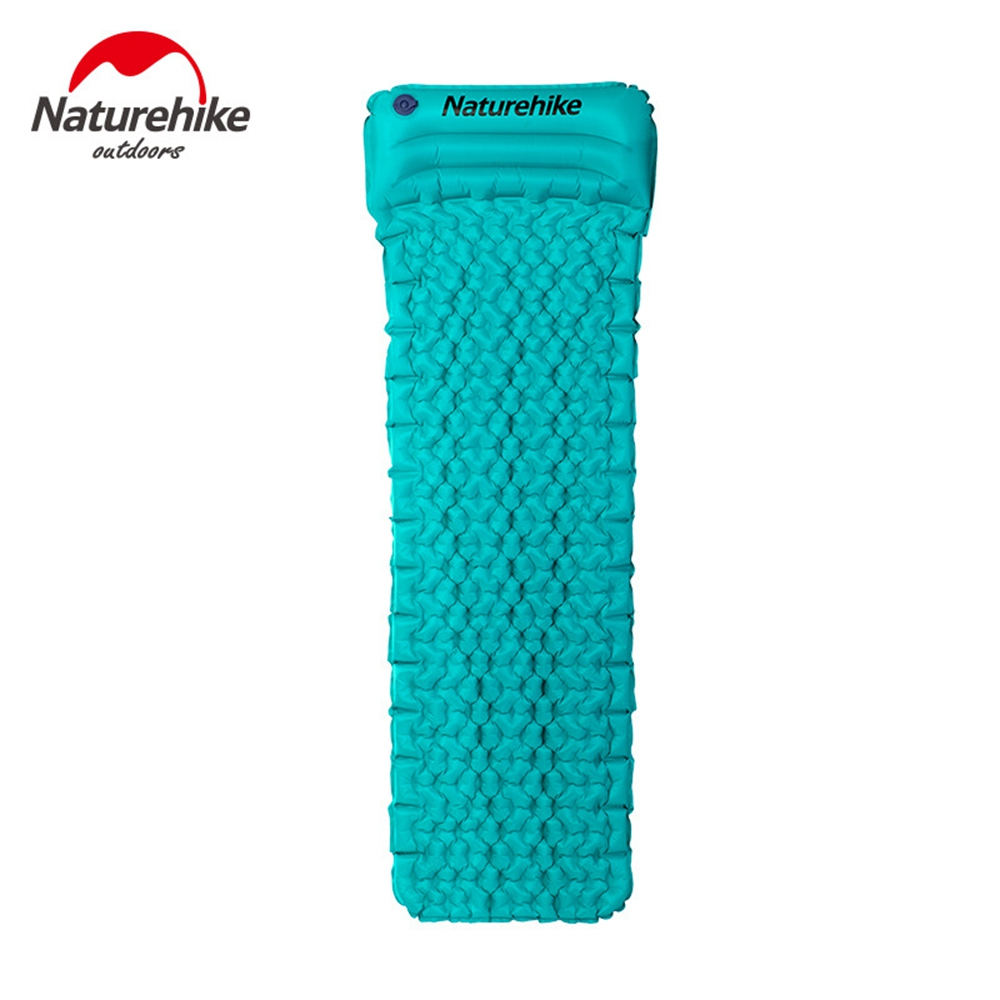 ФОТО Naturehike Outdoor Inflatable Cushion Sleeping Bag Mat Fast Filling Air Moistureproof Camping Mat With Pillow Sleeping Pad 460g