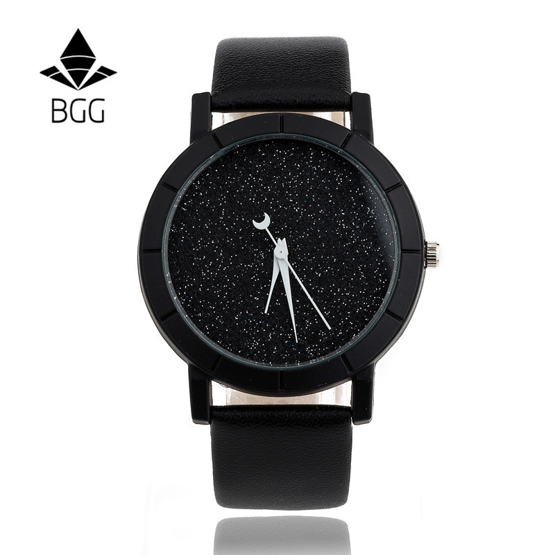 Ladies Casual Watch fashion Rhinestone Women Dress Watch Lovers' Leather Quartz Wristwatch Cute Moon Stars Design clock hours 12