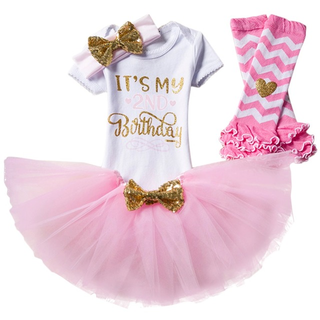 4pcs Set Baby Girl 1st 2nd Birthday Party Cake Smash Romper Tutu Skirt Headband Leg Warmers