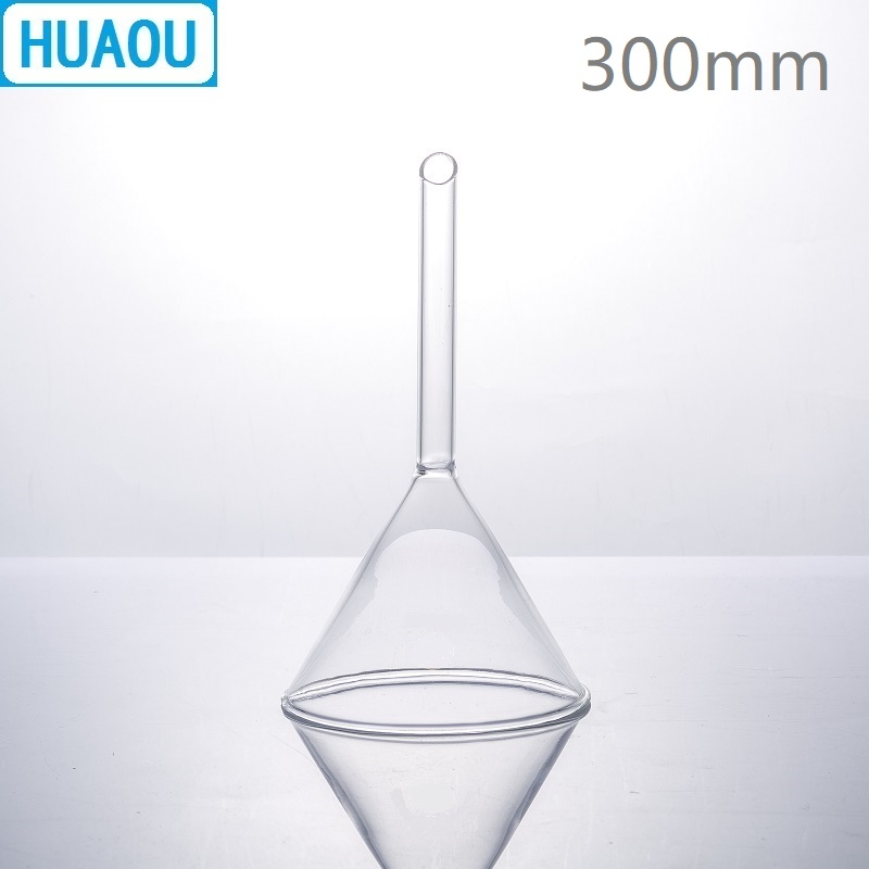 HUAOU 300mm Stripe Funnel Short Stem 60 Degree Angle Neutral Glass Laboratory Chemistry EquipmentHUAOU 300mm Stripe Funnel Short Stem 60 Degree Angle Neutral Glass Laboratory Chemistry Equipment