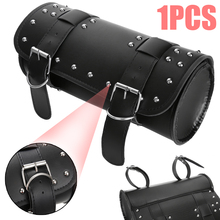 Motorcycle Black Front/Rear PU Leather Luggage Saddlebag Roll Barrel Tool Bag Pouch Universal For Retro Off-road ATV Scooter
