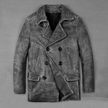 2020 Men Vintage Gray Motorcycle Leather Jacket 100% Genuine Thick Cowhide Male Suit Coats M-XXXL