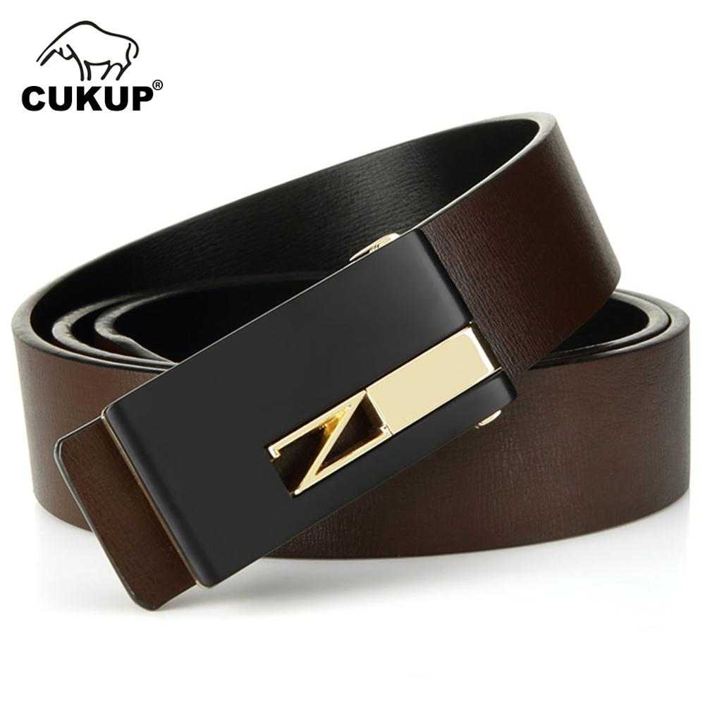 CUKUP Design Quality Double Side Genuine Leather Belts Man Male Smooth Buckle Men's 3.3cm Wide Belt For Men 130cm Length LUCK253