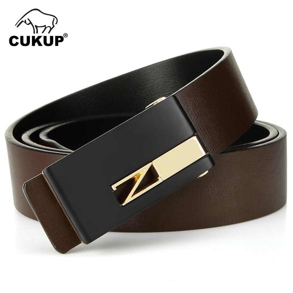 CUKUP Design Quality Double Side Genuine Leather Belts Man Male Smooth Buckle Men's 3.3cm Wide Belt For Men 130cm Length LUCK253