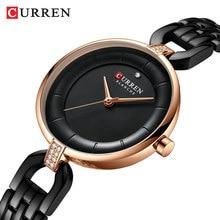 CURREN Brand Womens Dress Watches Rhinestone Ultra-Thin Golden Black Dial Quartz Wristwatch Steel Chain Bracelet Relogio Clocks
