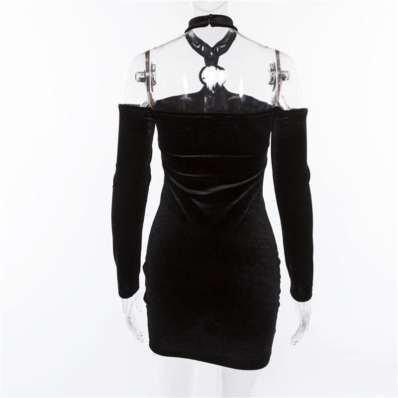 Summer Velvet Dress Women Retro Harajuku Sexy Black Long Sleeve Halter Dress 4