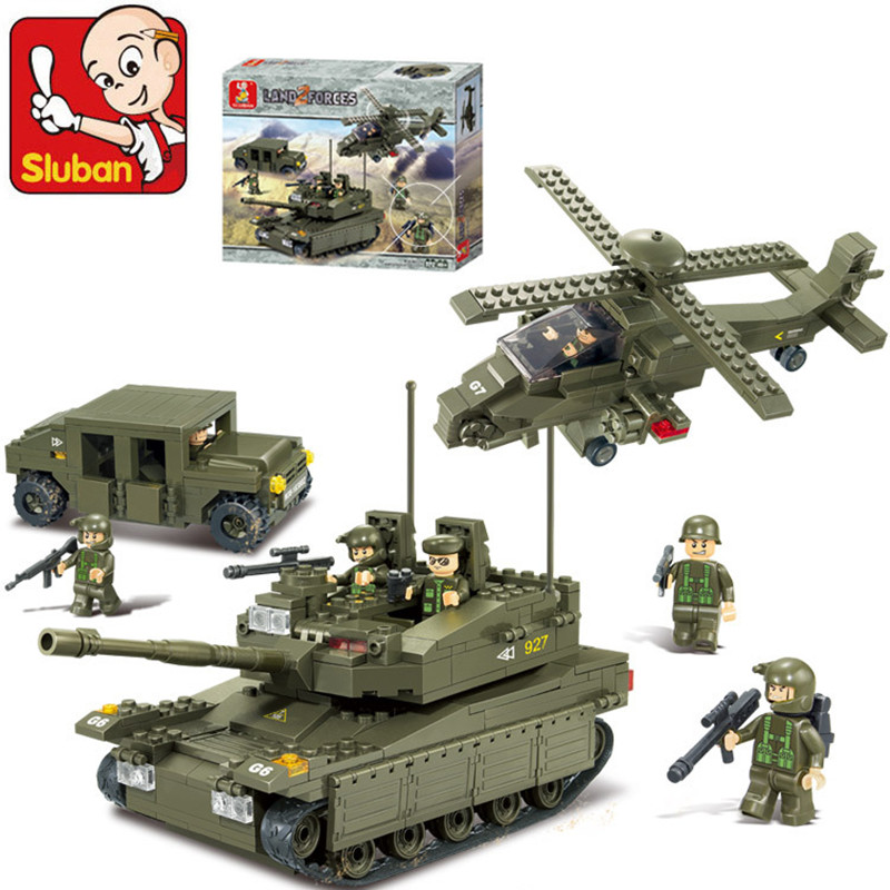 Sluban 683pcs 3D Construction Amphibious Assault Vehicle Building Blocks Sets Action Figure Baby Toys for Children Brinquedos