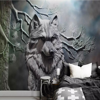 Custom 3D Modern European Embossed Forest Wolf Murals Wallpaper Living Room Bedroom Wall Decoration Wall Cloth Tapety Wall Paper custom 3d wall murals wallpaper modern art mural living room bedroom restaurant wall decoration wolf photo wall paper painting
