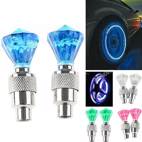 New Arrival 2 Pcs Auto LED Tire Valve Lamp Flashing Light Tyre Wheel Light For Car Bicycle