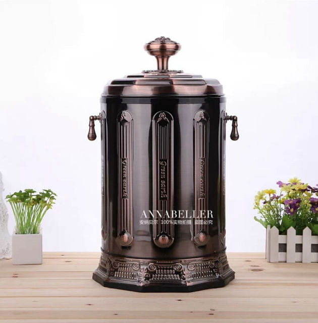 Luxury 10/6 Copper Stainless Steel Metal Rubbish Bin Garbage Cans Open By  Hand Trash