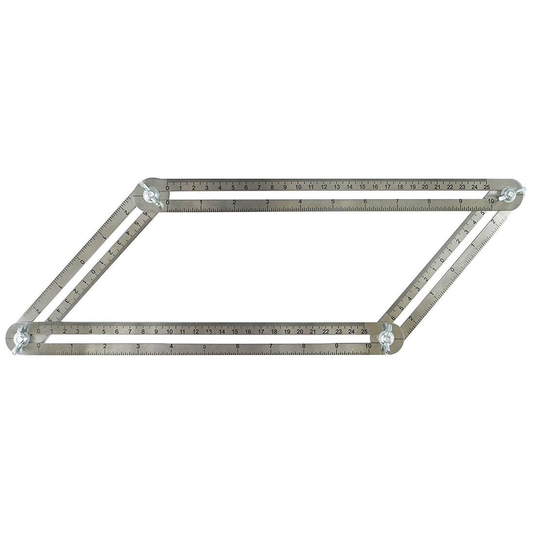 Stainless Steel Multi Angle Ruler Template Tool Box Easy Measuring Four Sided Ruler