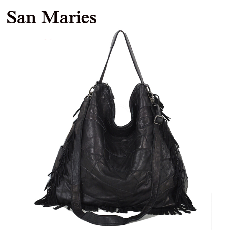 Hot 2019 Fashion Elegant Women Leather Handbags Black Woman Messenger Bags Brand Designers Handbag Tassel Classic Hobos-in Shoulder Bags from Luggage & Bags    1