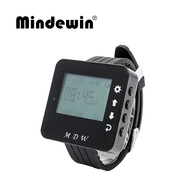 Mindewin 433MHZ Watch Pager For Restaurant Wireless Calling System Call Waiter Services Smart Wrist Watch M W 1 With LED Screen