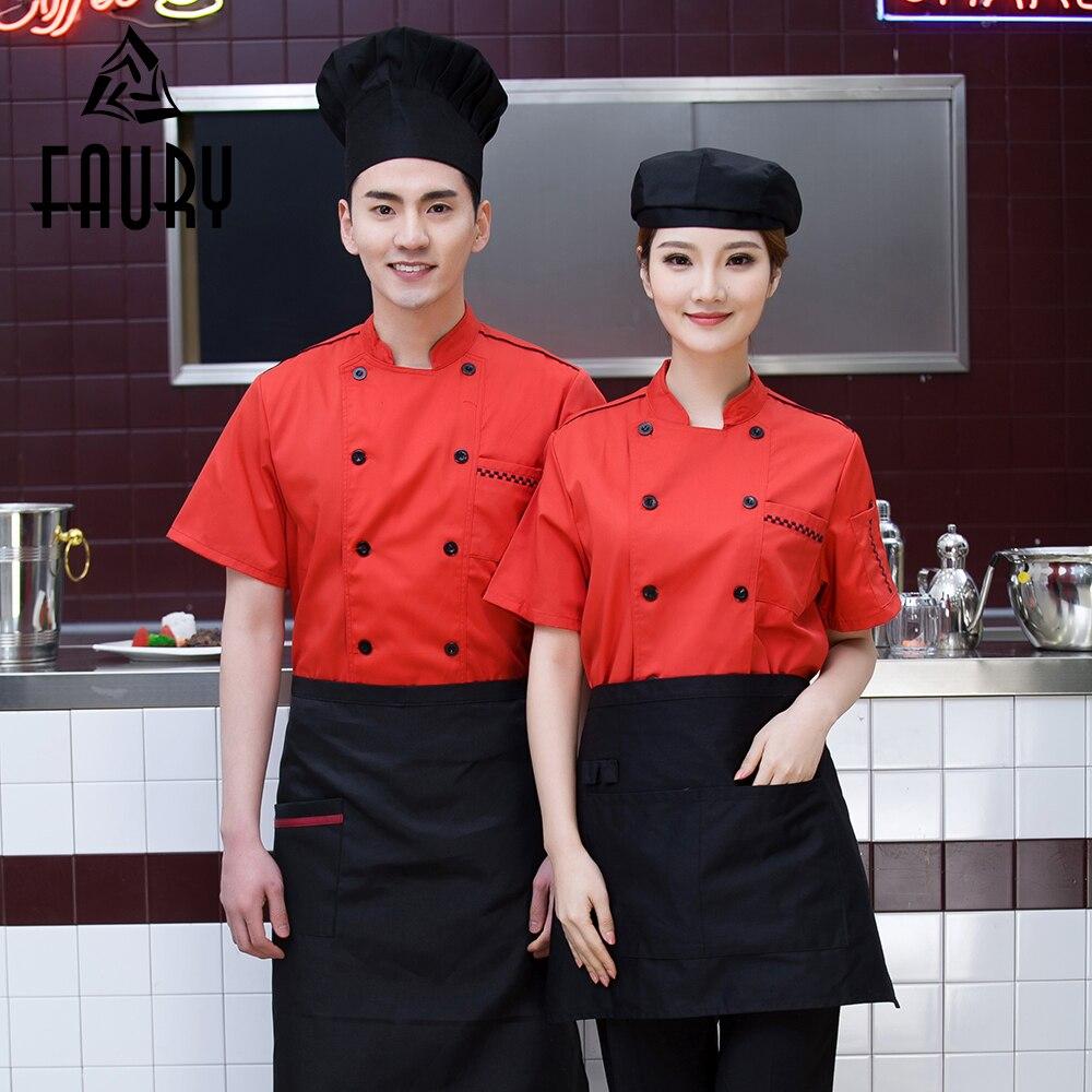Unisex Orange Double Breasted Chef Coat Short Sleeve Casual Restaurant Hotel Bakery Cafe Waiter Work Wear Uniform Kitchen Jacket