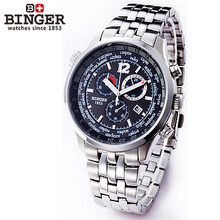 2017 Binger New Men's Military Sports Watches Multiple Time Zone Watch Auto Analog Digital Self Wind full steel Wristwatches