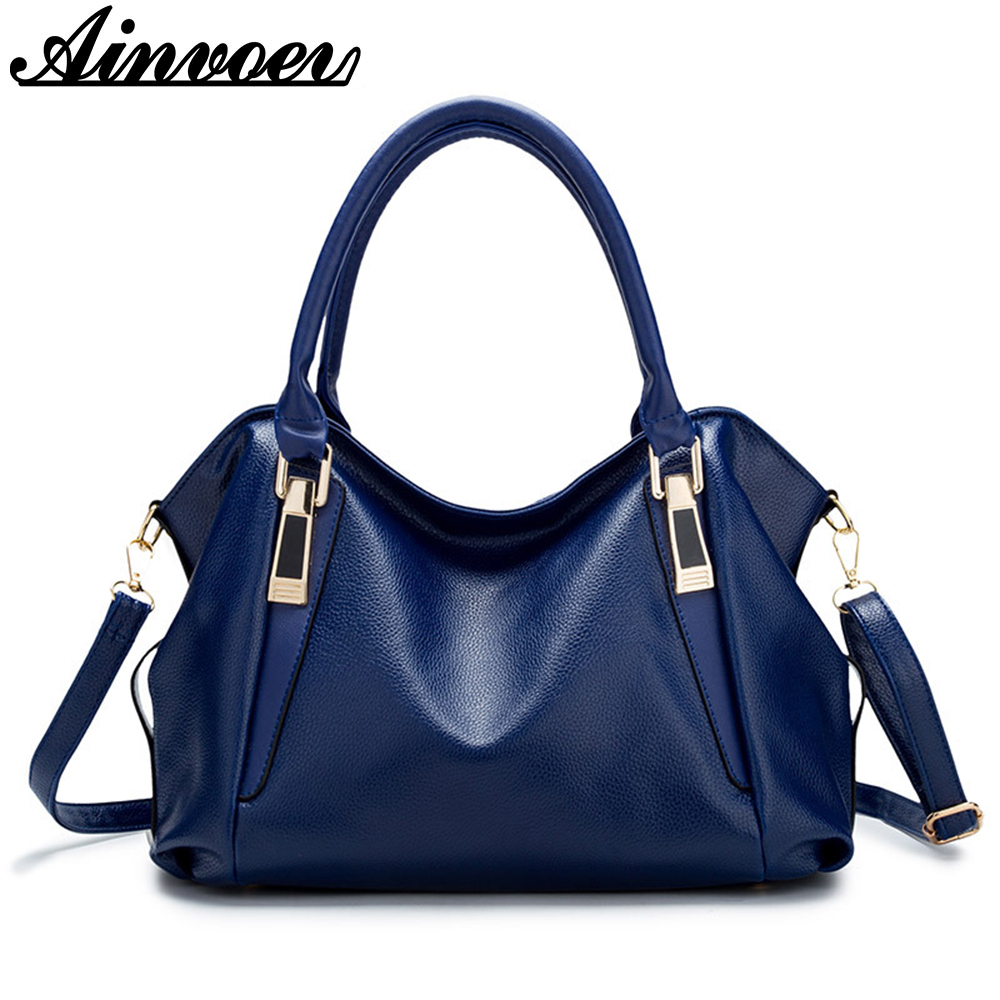 Ainvoev Luxury Women Handbags Brand Imitation pu Leather Bags Large Capacity Female Shoulder Bag Ladies Fashion Tote Bolsa a2207 imido europe large capacity real split leather bags ladies brand designer bag women handbags tote shoulder bag blue bolsa hdg038