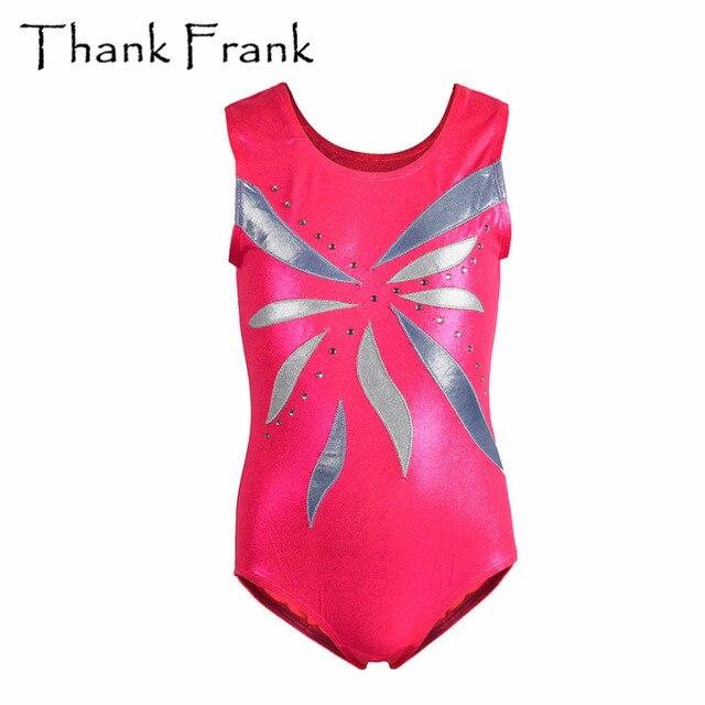 1b87952e1 Children Gymnastics Leotard Girls Metallic Pink Tank Ballet Leotards ...