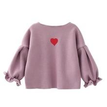 Одежда для маленьких девочек; осенний свитер; Одежда для девочек; милый топ с сердечком; кардиган с принтом; пальто с длинными рукавами; свитер; одежда для малышей
